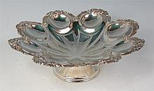 A circa 1900 silver pedestal fruit bowl, of shaped