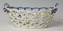 A Lowestoft porcelain chestnut basket, lattice