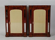 A pair of walnut side cabinets, Victorian and