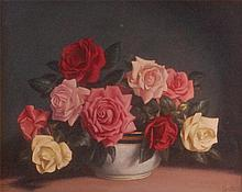 Carla Sanchez - Still life with roses in a bowl,