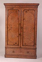 A Victorian figured walnut double door wardrobe,