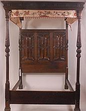 A 16th century and later oak four poster double