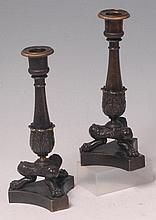 A pair of French 19th century bronze classical