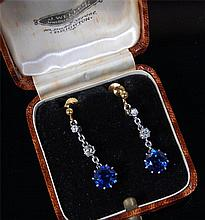 A pair of 1920s synthetic sapphire and diamond set