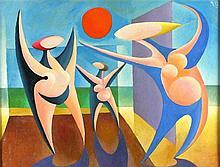 Cecil RILEY (1917-2015), Oil on board, 'The Beach Dance' - Dance Series, Si