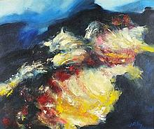 Joan RILEY (1920-2015), Oil on canvas, 'Lava Flow', Signed, 19.25