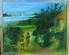 Joan RILEY (1920-2015), Oil on canvas, 'Bryher' - figures on a path to the
