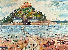 * Simeon STAFFORD (b.1956), Oil on board, 'St Michael's Mount' - summer bea