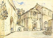 R.J. B---, Watercolour, 'St Saviour Dubrodnick' - square before a church, I