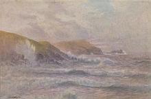 William Edward CROXFORD (1851-1926), Watercolour, Rolling breakers in a sti