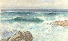 William Edward CROXFORD (1851-1926), Watercolour, A gentle swell on a rocky