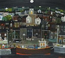 Alan FURNEAUX (b.1953), Acrylic on board, Newlyn at Dusk, Signed, 23