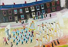* Fred YATES (1922-2008), Oil on canvas, Easter Procession, 27.5