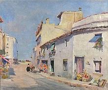 * Francis Russell FLINT (1915-1977), Oil on canvas, Spanish village street