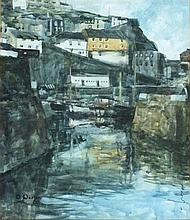 * David WESTON (b.1942), Watercolour, Mevagissey Harbour, Signed & dated (1