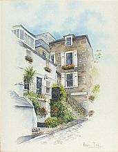 Kevin TOY, Watercolour, Street Scene St Ives Cornwall, Signed, 12