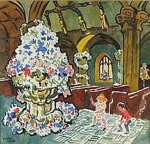 * Clare WHITE (1904-1997), Watercolour, Flower Festival St Ia Church St Ive