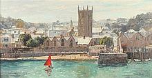 * Nancy BAILEY (1913-2012), Oil on canvas board, 'St Ia's Church & harbour