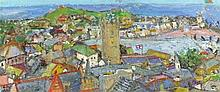 * Linda WEIR (b.1949), Oil on board, 'Little Town St Ives', Signed with ini