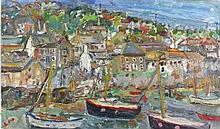 * Linda WEIR (b.1949), Oil on board, 'Mousehole Spring', Inscribed to verso
