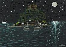 Alan FURNEAUX (b.1953), Acrylic on board, 'Starry Night' - St Michael's Mou