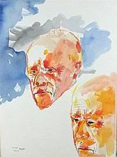 * Philip SUTTON (b.1928), Watercolour, Two studies of Mr Allan's (sic) head