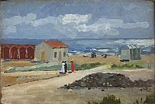 * Althea GARSTIN (1894-1978), Oil on wooden panel, Summertime - figures on