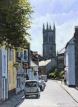 Stephen CUMMINS (b.1943), Acrylic on canvas, 'Chapel Street Penzance', Insc