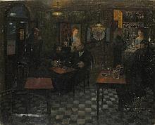 Pat ALGAR (1939-2013), Oil on board, 'The Kings Head' - public house interi