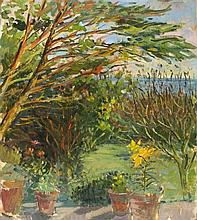 Pat ALGAR (1939-2013), Oil on board, 'Evening Light' - garden at Chymorvah,