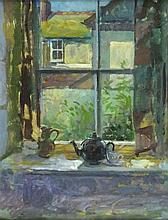 Pat ALGAR (1939-2013), Oil on board, 'Window Wesley Place St Ives', Inscrib