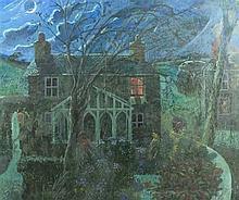 Pat ALGAR (1939-2013), Oil on board, 'Cottage by Moonlight', Bears artist's