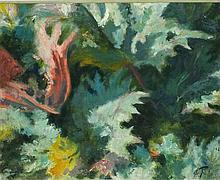 Joan RILEY (1920-2015), Oil on board, 'Blowing in the Wind' - study of gunn