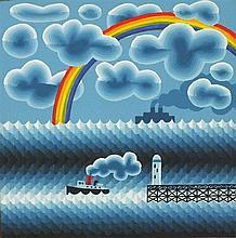 * Peter MARKEY (b.1930), Oil on board, Tug & lighthouse under a rainbow, 6