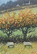 Robert JONES (b.1943), Oil on board, 'Autumn Trees & Sheep - Vale of Ewyas