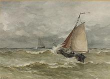 Johannes Matthys LION (1856-1899), Watercolour, Scheveningen fishing boat u