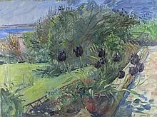 Pat ALGAR (1939-2013), Oil on canvas, Tulips on the terrace Marazion, Bears