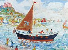 * Simeon STAFFORD (b.1956), Oil on canvas, 'P.W.73' - fishing boat before S