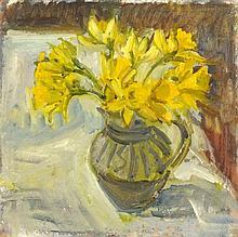 Pat ALGAR (1939-2013), Oil on board, Jug of Daffodils, Bears artist's studi