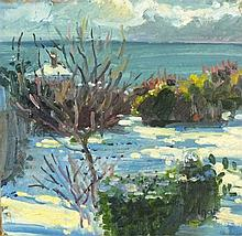 Pat ALGAR (1939-2013), Oil on board, Winter snow in the garden Chymorvah, S