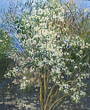 Pat ALGAR (1939-2013), Oil on canvas, 'White Blossom', Inscribed & signed t