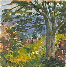 Pat ALGAR (1939-2013), Oil on board, A corner of the garden in summer, Sign
