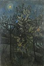 Pat ALGAR (1939-2013), Oil on canvas, Spring blossom by moonlight, Signed,