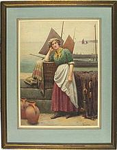 Ralph TODD (1856-1932), Watercolour, Waiting for the fleet, Signed, 15.75