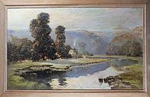 Baragwanath KING (1864-1939), Oil on canvas, Early morning valley of the Ta