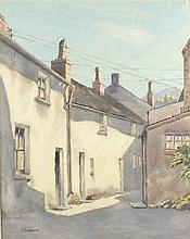 C* LAWRENCE, Watercolour, Back street cottages, Signed, Unframed, 17.25