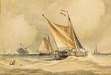 Richard Henry NIBBS (c.1816-1893), Watercolour, Dutch fishing vessels saili