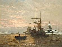 George Stanfield WALTERS (1838-1924), Oil on canvas, 'Winter on the Maas',