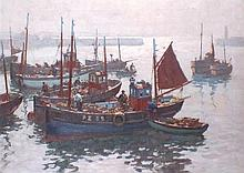 * Gyrth RUSSELL (1897-1970), Oil on canvas, Penzance crabbers preparing to
