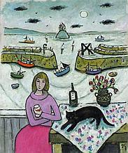 * Joan GILLCHREST (1918-2008), Oil on board, 'A Moment's Reflection', Inscr
